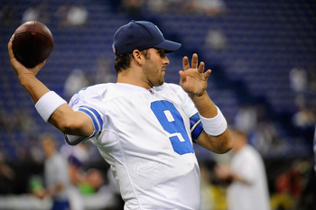 MINNEAPOLIS, MN - AUGUST 27: Tony Romo #9 of the Dallas Cowboys warms up before the game against the Minnesota Vikings on August 27, 2011 at Hubert H. Humphrey Metrodome in Minneapolis, Minnesota. (Photo by Hannah Foslien/Getty Images)