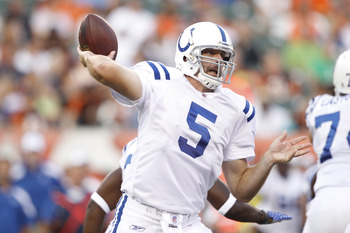 CINCINNATI, OH - SEPTEMBER 1: Kerry Collins #5 of the Indianapolis Colts throws a pass in the first half of an NFL preseason game against the Cincinnati Bengals at Paul Brown Stadium on September 1, 2011 in Cincinnati, Ohio. (Photo by Joe Robbins/Getty Im