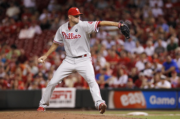 CINCINNATI, OH - AUGUST 29: Ryan Madson #46 of the Philadelphia Phillies pitches in the ninth inning against the Cincinnati Reds at Great American Ball Park on August 29, 2011 in Cincinnati, Ohio. The Phillies won 3-2. (Photo by Joe Robbins/Getty Images)