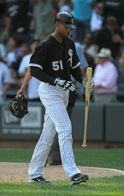 CHICAGO, IL - AUGUST 31: Alex Rios #51 of the Chicago White Sox walks back to the dugout after striking out with men on base to end a game against the Minnesota Twins at U.S. Cellular Field on August 31, 2011 in Chicago, Illinois. The Twins defeated the W