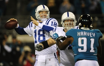 JACKSONVILLE, FL - DECEMBER 17:  Quarterback Peyton Manning #18 of the Indianapolis Colts throws a pass against the Jacksonville Jaguars at Jacksonville Municipal Stadium on December 17, 2009 in Jacksonville, Florida.  (Photo by Sam Greenwood/Getty Images