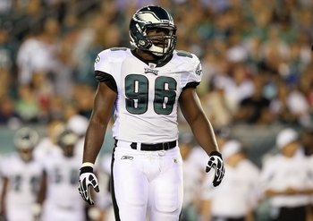 PHILADELPHIA, PA - AUGUST 11:  Greg Lloyd #96 of the Philadelphia Eagles in action against the Baltimore Ravens during their pre season game on August 11, 2011 at Lincoln Financial Field in Philadelphia, Pennsylvania.  (Photo by Jim McIsaac/Getty Images)