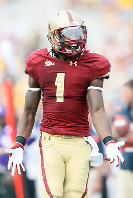 CHESTNUT HILL, MA - SEPTEMBER 03: Colin Larmond Jr. #1 of the Boston College Eagles reacts when there is no pass interference call against the Northwestern Wildcats on September 3, 2011 at Alumni Stadium in Chestnut Hill, Massachusetts.The Northwestern Wi
