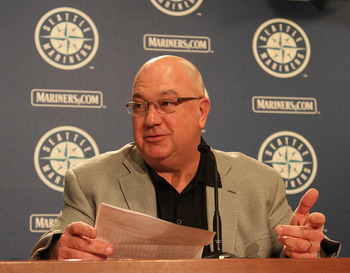 SEATTLE - JULY 09:  Executive Vice President & GM Jack Zduriencik of the Seattle Mariners speaks to the media at a press conference announcing a trade of starting pitcher Cliff Lee in exchange for first baseman Justin Smoak, pitcher Blake Beavan, Double-A