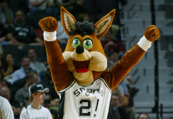 SAN ANTONIO - APRIL 19:  The San Antonio Spurs mascot, Coyote, entertains the fans in Game two of the Western Conference Quarterfinals against the Memphis Grizzlies during the NBA Playoffs at the SBC Center on April 19, 2004 in San Antonio, Texas. The Spu