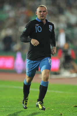 SOFIA, BULGARIA - SEPTEMBER 02: Wayne Rooney of England in action during the EURO 2012 group G qualifying match between Bulgaria and England at the Vasil Levski National Stadium on September 2, 2011 in Sofia, Bulgaria.  (Photo by Michael Regan/Getty Image