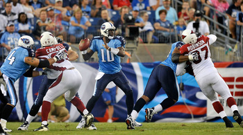 NASHVILLE, TN - AUGUST 23:  Quarterback Vince Young #10 of the Tennessee Titans drops back in the pocket against the Arizona Cardinals during a preseason game at LP Field on August 23, 2010 in Nashville, Tennessee. Tennessee defeated Arizona, 24-10.  (Pho