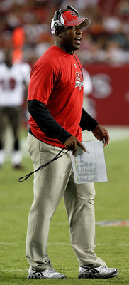 TAMPA, FL - AUGUST 27:  Head coach Raheem Morris of the Tampa Bay Buccaneers directs his team against the Miami Dolphins during a preseason game at Raymond James Stadium on August 27, 2011 in Tampa, Florida.  (Photo by J. Meric/Getty Images)