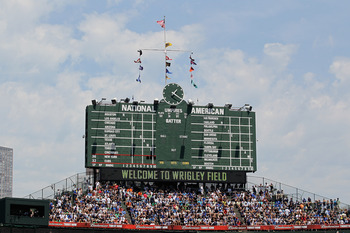 CHICAGO, IL - JUNE 17:  The scoreboard at Wrigley Field is seen before the Chicago Cubs take on the New York Yankees at Wrigley Field on June 17, 2011 in Chicago, Illinois. The Cubs defeated the Yankees 3-1.  (Photo by Jonathan Daniel/Getty Images)