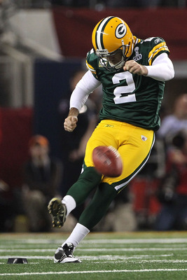 ARLINGTON, TX - FEBRUARY 06:  Mason Crosby #2 of the Green Bay Packers kicks off to start Super Bowl XLV against the Pittsburgh Steelers at Cowboys Stadium on February 6, 2011 in Arlington, Texas.  (Photo by Doug Pensinger/Getty Images)