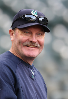 SEATTLE, WA - APRIL 12:  Manager Eric Wedge #22 of the Seattle Mariners smiles during batting practice prior to the game against the Toronto Blue Jays at Safeco Field on April 12, 2011 in Seattle, Washington. (Photo by Otto Greule Jr/Getty Images)