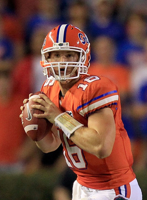 GAINESVILLE, FL - SEPTEMBER 03:  Quarterback Jeff Driskel #16 of the University of Florida Gators attempts a pass during a game against the Florida Atlantic University Owls at Ben Hill Griffin Stadium on September 3, 2011 in Gainesville, Florida.  (Photo