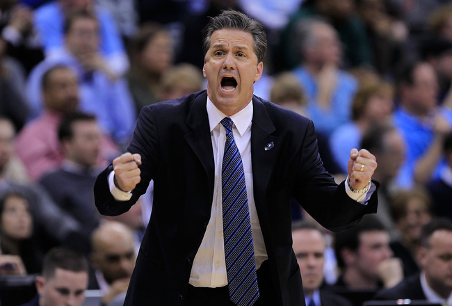 NEWARK, NJ - MARCH 27:  Head coach John Calipari of the Kentucky Wildcats reacts after a play against the North Carolina Tar Heels during the first half of the east regional final of the 2011 NCAA men's basketball tournament at Prudential Center on March