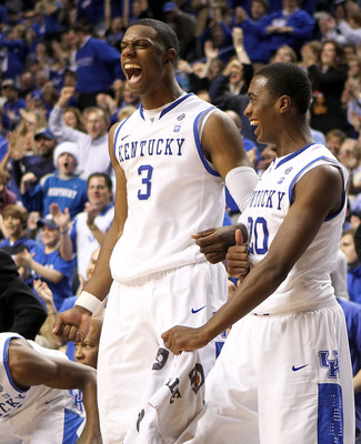 LEXINGTON, KY - DECEMBER 22:  Terrence Jones #3 and Doron Lamb #20 of the Kentucky Wildcats celebrate during the game against the Winthrop Eagles on December 22, 2010 in Lexington, Kentucky.  Kentucky won 89-52.  (Photo by Andy Lyons/Getty Images)
