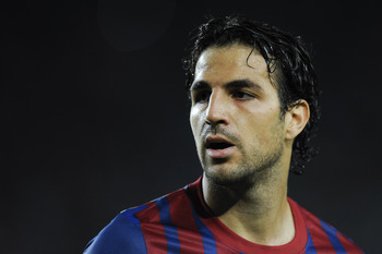 BARCELONA, SPAIN - AUGUST 29:  Cesc Fabregas of FC Barcelona looks on during the La Liga match between FC Barcelona and Villarreal CF at Camp Nou on August 29, 2011 in Barcelona, Spain.  (Photo by David Ramos/Getty Images)