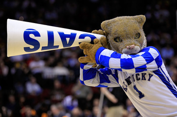 NEWARK, NJ - MARCH 25:  The Wildcat, mascot for the Kentucky Wildcats, performs during the east regional semifinal of the 2011 NCAA Men's Basketball Tournament at the Prudential Center on March 25, 2011 in Newark, New Jersey.  (Photo by Chris Trotman/Gett