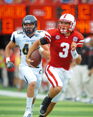 LINCOLN, NE - SEPTEMBER 03: Taylor Martinez #3 of the Nebraska Cornhuskers runs to the endzone during their game against the Chattanooga Mocs at Memorial Stadium September 3, 2011in Lincoln, Nebraska. Nebraska won 40-7. (Photo by Eric Francis/Getty Images