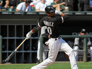 CHICAGO, IL - AUGUST 31:  Alexei Ramirez #10 of the Chicago White Sox takes a swing against the Minnesota Twins at U.S. Cellular Field on August 31, 2011 in Chicago, Illinois. The Twins defeated the White Sox 7-6.  (Photo by Jonathan Daniel/Getty Images)