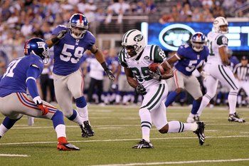 EAST RUTHERFORD, NJ - AUGUST 29: Derrick Mason #85 of the New York Jets in action against the New York Giants during their pre season game on August 29, 2011 at MetLife Stadium in East Rutherford, New Jersey.  (Photo by Jim McIsaac/Getty Images)