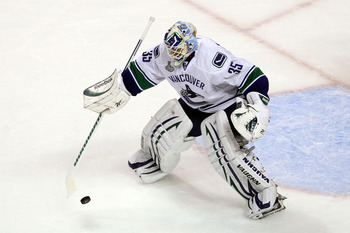 BOSTON, MA - JUNE 13:  Cory Schneider #35 of the Vancouver Canucks tends goal against the Boston Bruins during Game Six of the 2011 NHL Stanley Cup Final at TD Garden on June 13, 2011 in Boston, Massachusetts.  (Photo by Bruce Bennett/Getty Images)