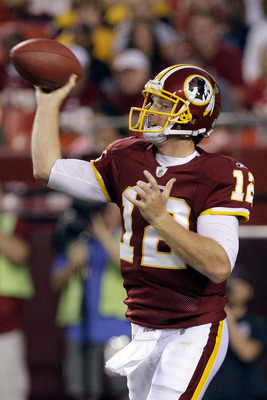 LANDOVER, MD - SEPTEMBER 01:  Quarterback  John Beck #12 of the Washington Redskins throws a pass against the Tampa Bay Buccaneers during the first half of a preseason game at FedExField on September 1, 2011 in Landover, Maryland.  (Photo by Rob Carr/Gett