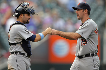 DENVER, CO - JUNE 19:  Catcher Alex Avila #13 and starting pitcher Justin Verlander #35 of the Detroit Tigers celebrate after their victory over the Colorado Rockies at Coors Field on June 19, 2011 in Denver, Colorado. Verlander pitched a complete game an