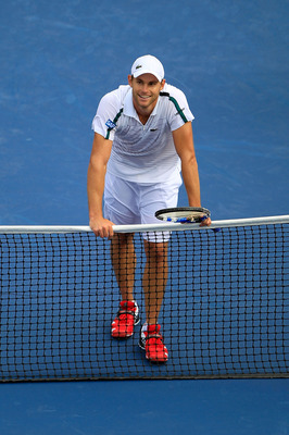 NEW YORK, NY - SEPTEMBER 04:  Andy Roddick of the United States celebrates after defeating Julien Benneteau of France during Day Seven of the 2011 US Open at the USTA Billie Jean King National Tennis Center on September 4, 2011 in the Flushing neighborhoo