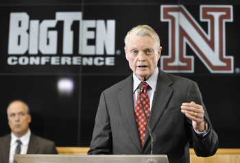 LINCOLN, NE  - JUNE 11: University of Nebraska Athletic Director Tom Osbourne informs members of the media that the University of Nebraska has been accepted into the Big Ten conference  June 11, 2010 in Lincoln, Nebraska.  The university will begin integr