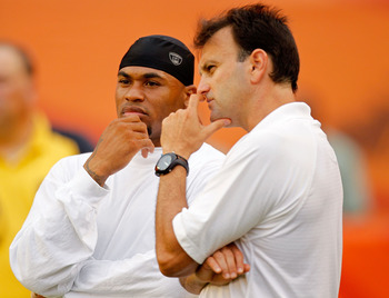 MIAMI GARDENS, FL - AUGUST 19:  Agent Drew Rosenhaus talks with Steve Smith #89 of the Carolina Panthers before an NFL game against the Miami Dolphins at Sun Life Stadium on August 19, 2011 in Miami Gardens, Florida.  (Photo by Mike Ehrmann/Getty Images)