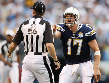 SAN DIEGO - JANUARY 17:  Quarterback Philip Rivers #17 of the San Diego Chargers yells at a referee after an interception by the New York Jets during the AFC Divisional Playoff Game at Qualcomm Stadium on January 17, 2010 in San Diego, California.  (Photo