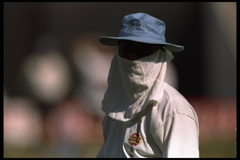 14 Feb 1996:  Richard Illingworth of England disguises himself from the camera during the cricket world cup in Ahmedabad, Pakistan