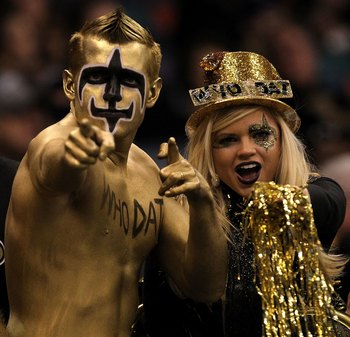 NEW ORLEANS - JANUARY 24:  Fans of the New Orleans Saints support the Saints against the Minnesota Vikings during the NFC Championship Game at the Louisana Superdome on January 24, 2010 in New Orleans, Louisiana.  (Photo by Ronald Martinez/Getty Images)