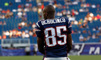 FOXBORO, MA - AUGUST 11:  Chad Ochocinco #85 of the New England Patriots completes a drill before a game against the Jacksonville Jaguars at Gillette Stadium on August 11, 2011 in Foxboro, Massachusetts. (Photo by Jim Rogash/Getty Images)