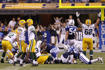 INDIANAPOLIS, IN - AUGUST 26: Mason Crosby #2 and Tim Masthay #8 of the Green Bay Packers celebrate the game-winning 50-yard field goal during an NFL preseason game against the Indianapolis Colts at Lucas Oil Stadium on August 26, 2011 in Indianapolis, In