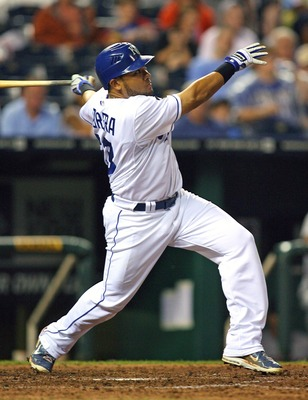 KANSAS CITY, MO - SEPTEMBER 03:  Center fielder Melky Cabrera #53 of the Kansas City Royals bats against the Cleveland Indians at Kauffman Stadium on September 3, 2011 in Kansas City, Missouri. The Kansas City Royals defeated the Cleveland Indians 5-1.  (