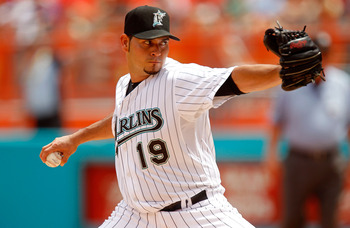 MIAMI GARDENS, FL - SEPTEMBER 04:  Anibal Sanchez #19 of the Florida Marlins pitches during a game against the Philadelphia Phillies at Sun Life Stadium on September 4, 2011 in Miami Gardens, Florida.  (Photo by Mike Ehrmann/Getty Images)