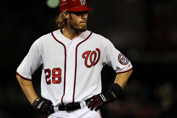WASHINGTON, DC - SEPTEMBER 2: Jayson Werth #28 of the Washington Nationals shows his emotion after the fifth inning is retired against the New York Mets at Nationals Park on September 2, 2011 in Washington, DC. The New York Mets won, 7-3. (Photo by Patric
