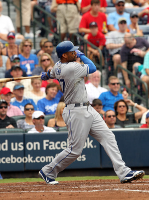 ATLANTA, GA - SEPTEMBER 4: Matt Kemp #27 of the Los Angeles Dodgers hits a 3-run homerun against the Atlanta Braves on September 4, 2011 at Turner Field in Atlanta, Georgia. (Photo by Joe Murphy/Getty Images)