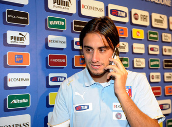 FLORENCE, ITALY - SEPTEMBER 05:  Alberto Aquilani attends the mixed zone at Stadio Artemio Franchi on September 5, 2011 in Florence, Italy.  (Photo by Claudio Villa/Getty Images)