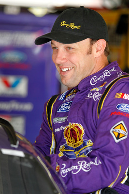 HAMPTON, GA - SEPTEMBER 03:  Matt Kenseth, driver of the #17 Crown Royal Ford, looks on in the garage during practice for the NASCAR Sprint Cup Series AdvoCare 500 at Atlanta Motor Speedway on September 3, 2011 in Hampton, Georgia.  (Photo by Todd Warshaw