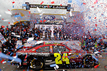 HAMPTON, GA - SEPTEMBER 06:  Jeff Gordon, driver of the #24 Drive to End Hunger Chevrolet, celebrates in victory lane after winning the NASCAR Sprint Cup Series AdvoCare 500 at Atlanta Motor Speedway on September 6, 2011 in Hampton, Georgia.  (Photo by Ch