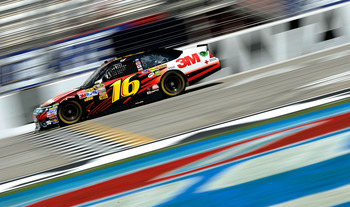 HAMPTON, GA - SEPTEMBER 03:  Greg Biffle, driver of the #16 3M Ford, practices for the NASCAR Sprint Cup Series AdvoCare 500 at Atlanta Motor Speedway on September 3, 2011 in Hampton, Georgia.  (Photo by Jared C. Tilton/Getty Images for NASCAR)
