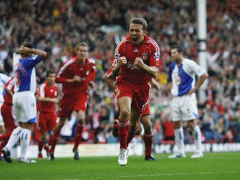 LIVERPOOL, UNITED KINGDOM - OCTOBER 14:  Craig Bellamy of Liverpool celebrates after scoring during the Barclays Premiership match between Liverpool and Blackburn Rovers at Anfield on October 14, 2006 in Liverpool, England.  (Photo by Shaun Botterill/Gett