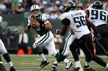 EAST RUTHERFORD, NJ - NOVEMBER 15:  Mark Sanchez #6 of the New York Jets looks to throw a pass against the Jacksonville Jaguars on November 15, 2009 at Giants Stadium in East Rutherford, New Jersey. Jacksonville defeated the Jets 24-22.  (Photo by Jim McI
