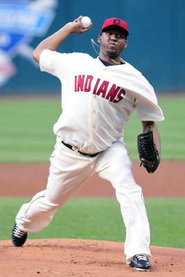 CLEVELAND, OH - AUGUST 27: Starting pitcher Fausto Carmona #55 of the Cleveland Indians pitches against the Kansas City Royals during the first inning at Progressive Field on August 27, 2011 in Cleveland, Ohio. (Photo by Jason Miller/Getty Images)
