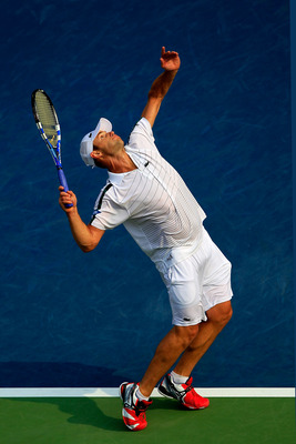 NEW YORK, NY - SEPTEMBER 04:  Andy Roddick of the United States serves against Julien Benneteau of France during Day Seven of the 2011 US Open at the USTA Billie Jean King National Tennis Center on September 4, 2011 in the Flushing neighborhood of the Que