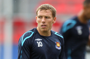 TORONTO - JULY 23:  Forward Craig Bellamy #10 of West Ham United with the ball during a training session before the MLS All Star Game at BMO Field on July 23, 2008 in Toronto, Canada. The All Star Game will be played July 24.  (Photo by Claus Andersen/Get