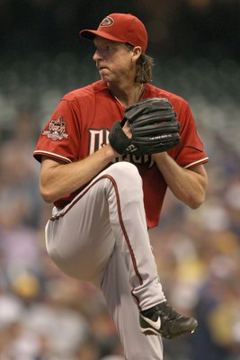 MILWAUKEE - JUNE 03: Pitcher Randy Johnson #51 of the Arizona Diamondbacks delivers a pitch against the Milwaukee Brewers on June 3, 2008 at Miller Park in Milwaukee, Wisconsin. The Brewers defeated the Diamondbacks 7-1. (Photo by Jonathan Daniel/Getty Im