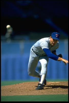 TEXAS RANGERS PITCHER NOLAN RYAN RELEASES A PITCH DURING THE RANGERS GAME AT THE SKYDOME IN TORONTO, CANADA. MANDATORY CREDIT: RICK STEWART/ALLSPOR