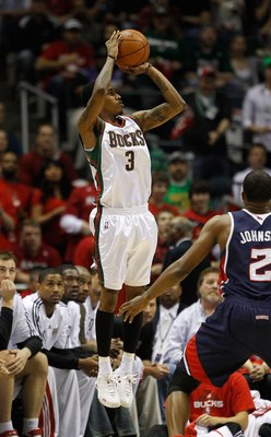 MILWAUKEE - APRIL 30: Brandon Jennings #3 of the Milwaukee Bucks puts up a shot against the Atlanta Hawks in Game Six of the Eastern Conference Quarterfinals during the 2010 NBA Playoffs at the Bradley Center on April 30, 2010 in Milwaukee, Wisconsin. The